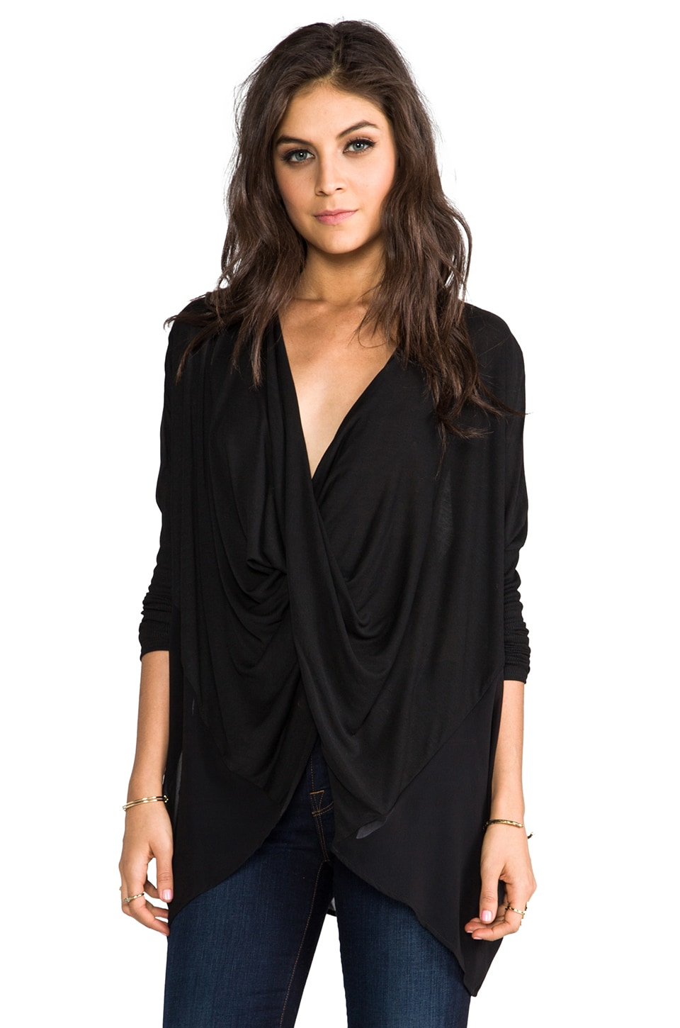 Velvet by Graham & Spencer Melange Drape Tempest Top in Black