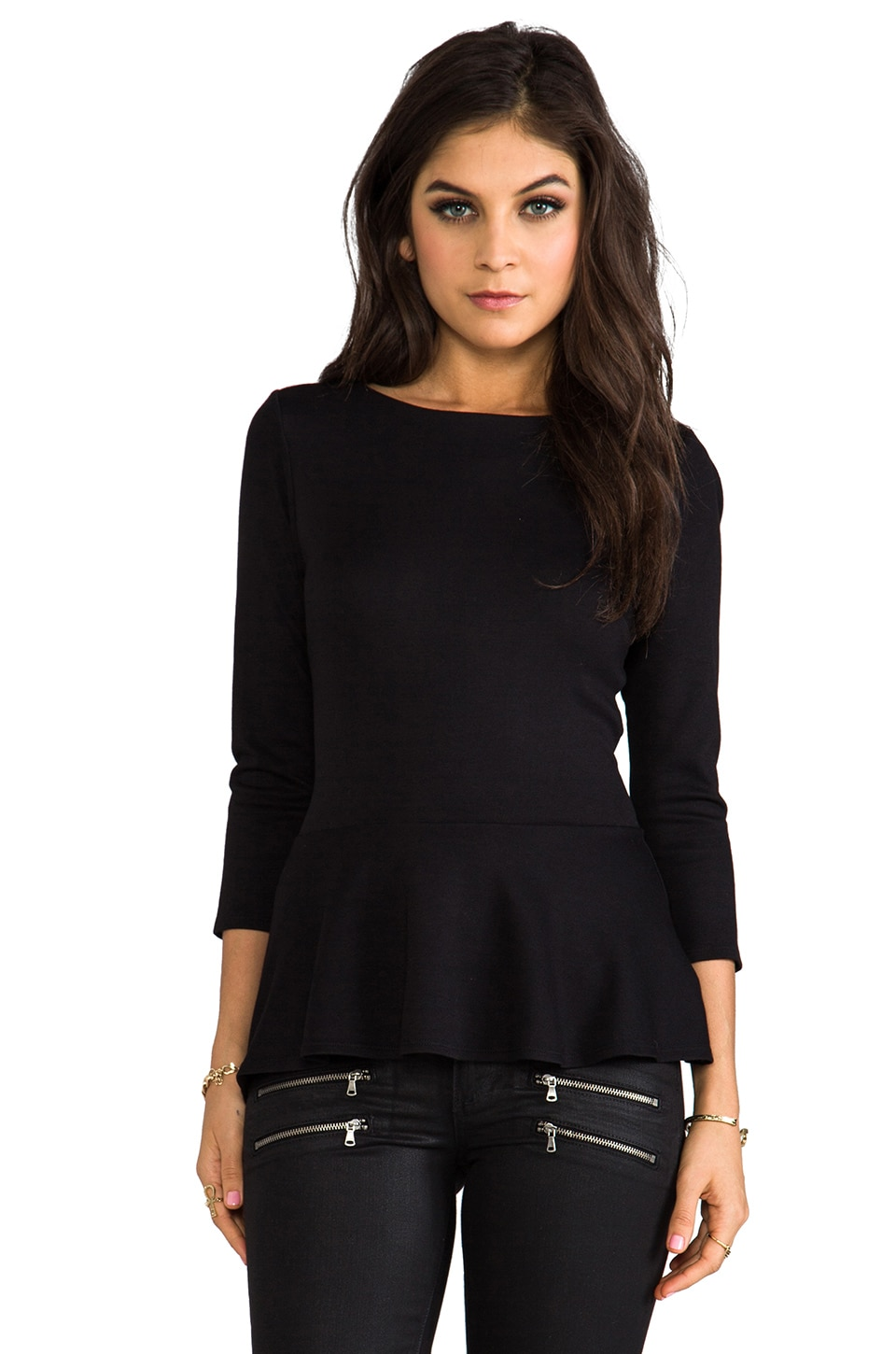 Velvet by Graham & Spencer Ponti Meg Peplum Top in Black