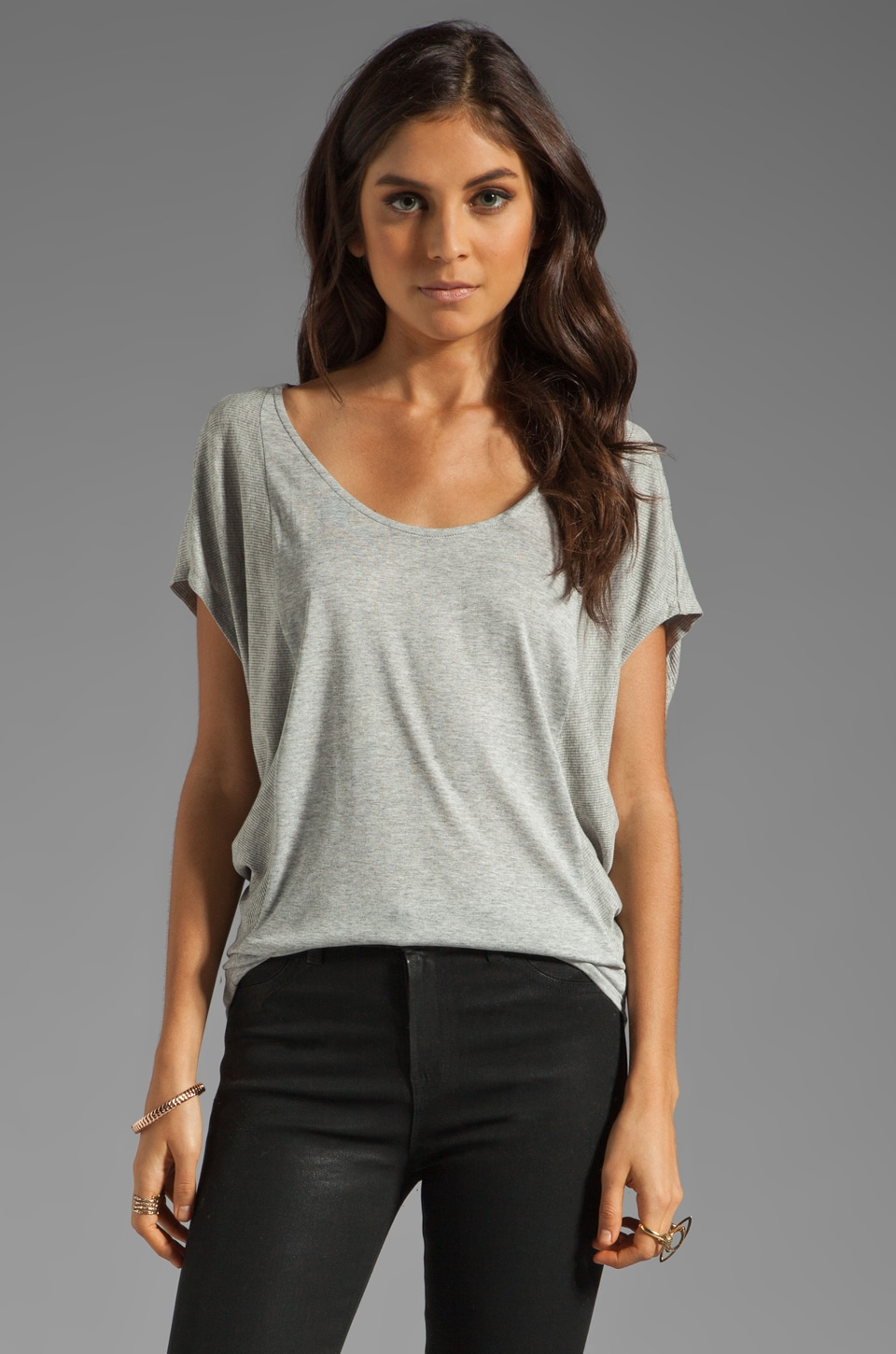 Velvet by Graham & Spencer Melange Drape Elena Top in Sterling