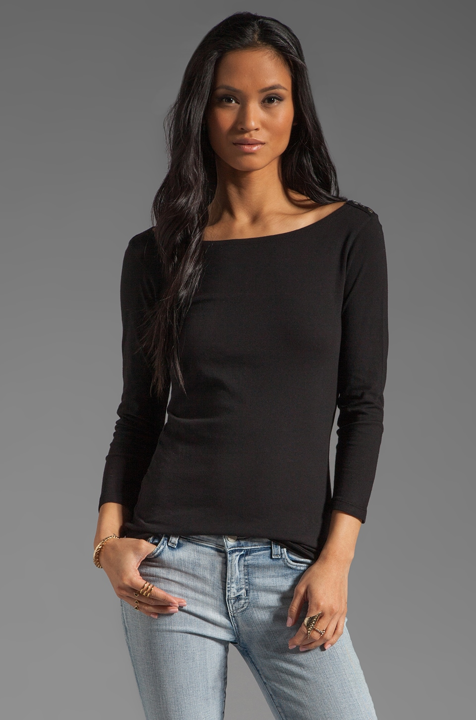 Velvet by Graham & Spencer Essential Jersey Natashya Long Sleeve Tee in Black