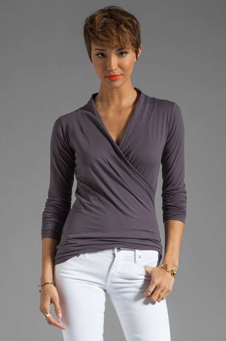 Velvet by Graham & Spencer Gauzy Whisper Classics Meri Wrap Top in Cannon