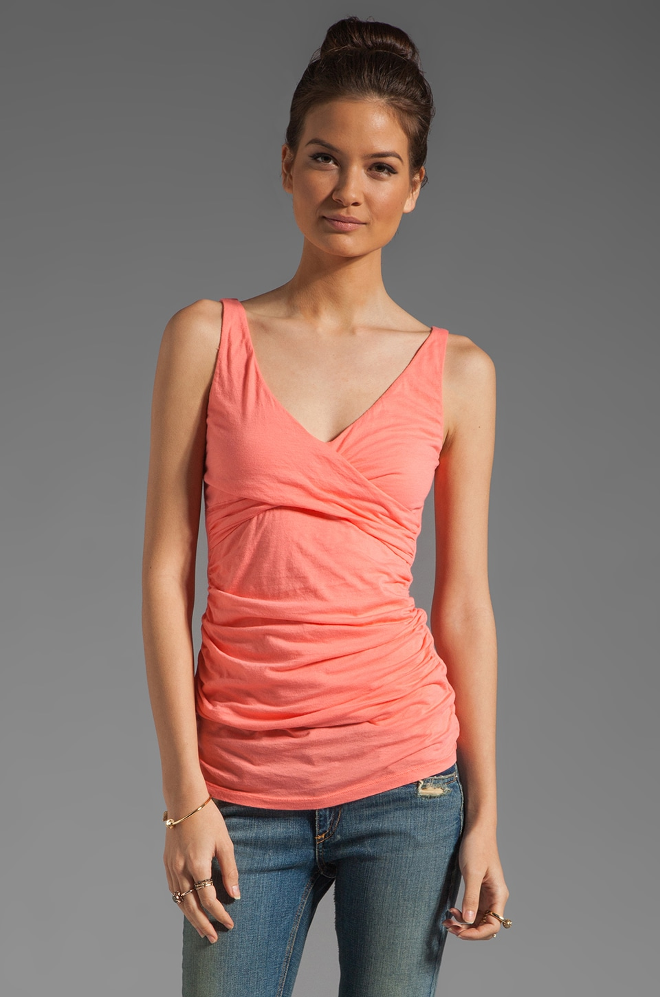 Velvet by Graham & Spencer Gauzy Whisper Xanthe Tank in Kumquat
