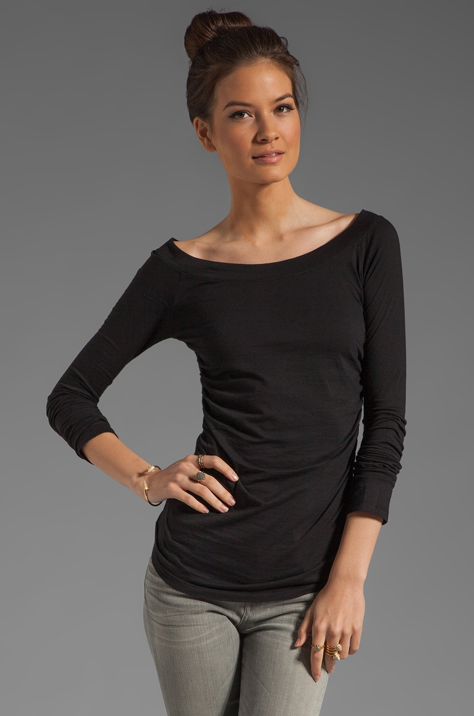 Velvet by Graham & Spencer Gauzy Whisper Consuelo Top in Black