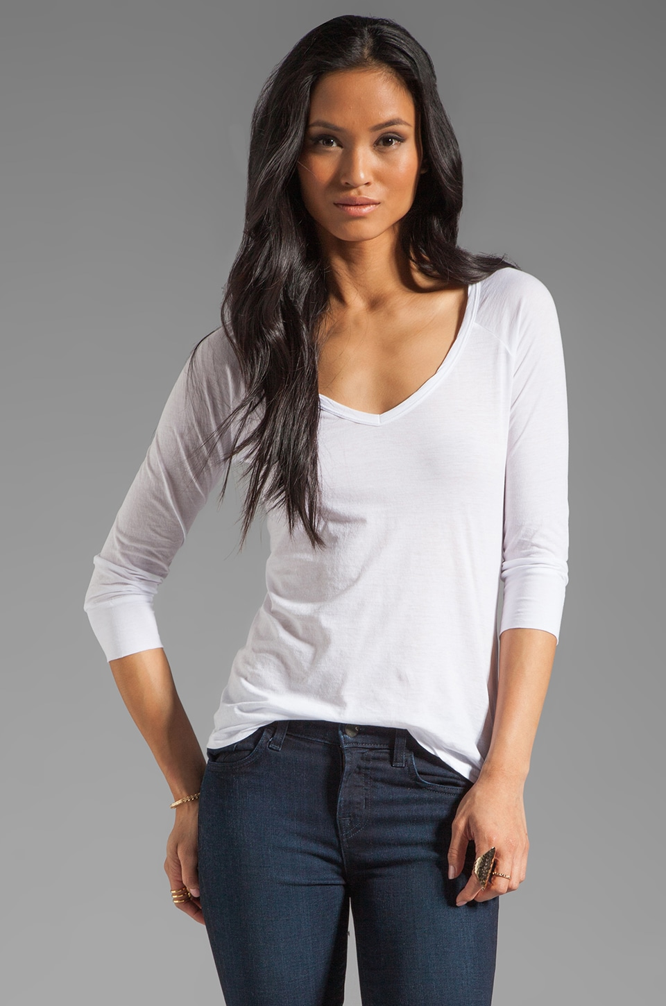 Velvet by Graham & Spencer Sheer Jersey Jalena Top in White