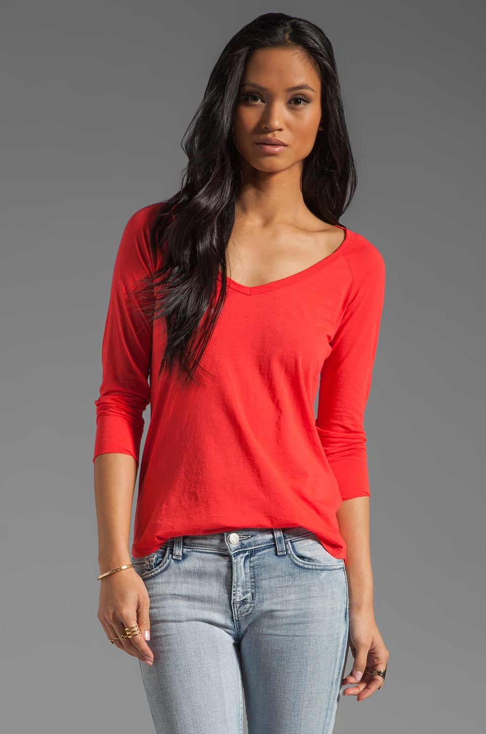 Velvet by Graham & Spencer Sheer Jersey Jalena Top in Popsicle