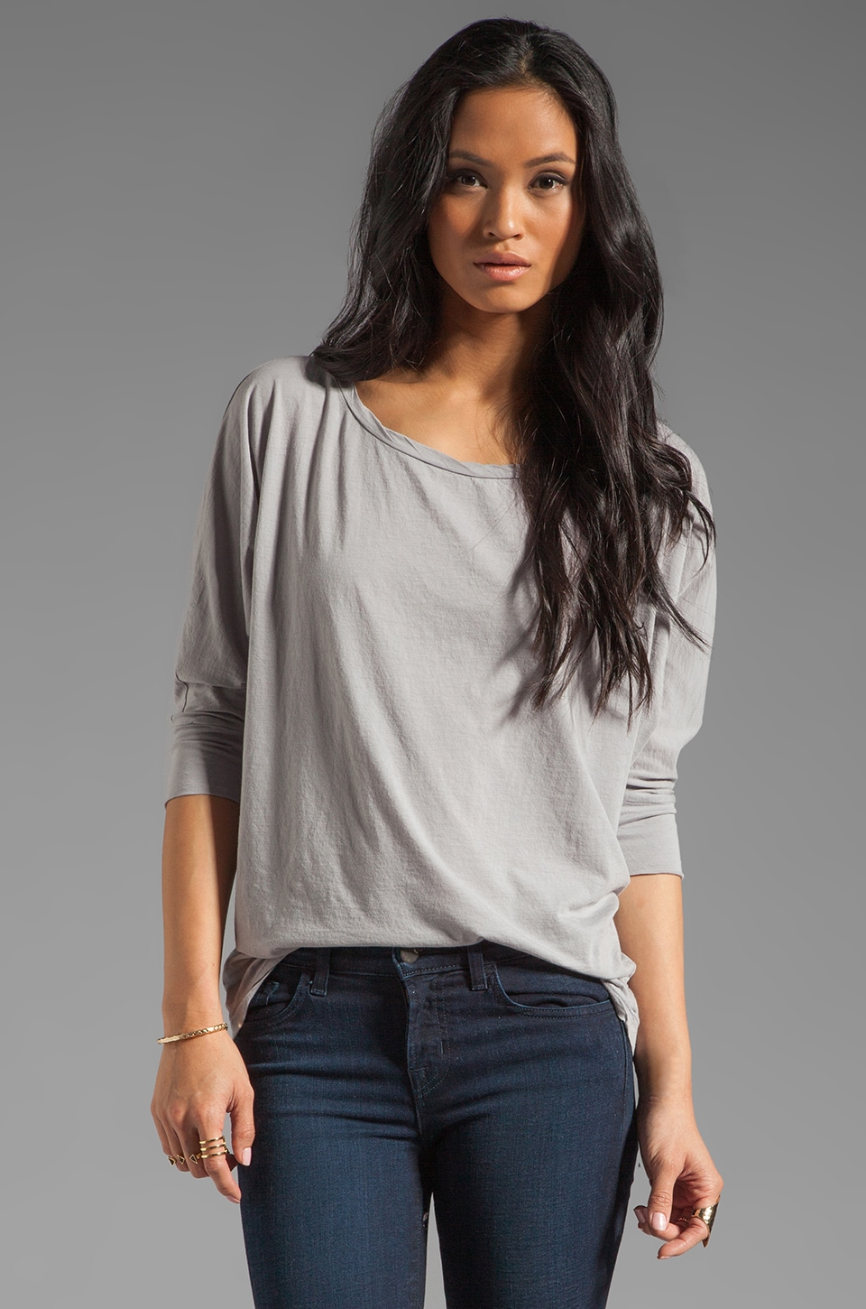 Velvet by Graham & Spencer Sheer Jersey Carden Top in Alaska