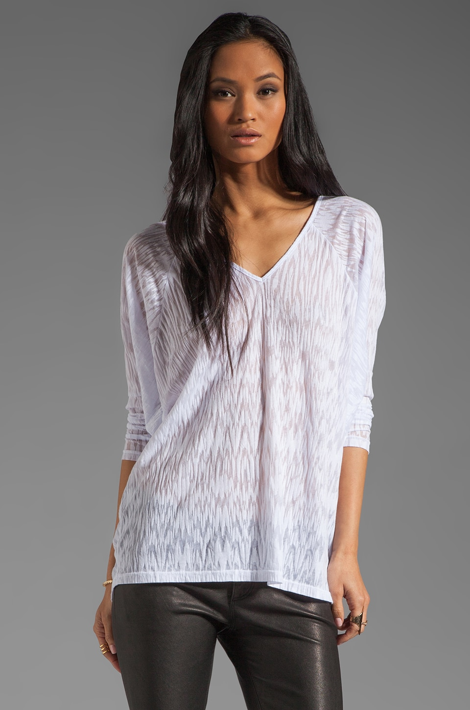 Velvet by Graham & Spencer Ikat Burnout Georgina Long Sleeve Top in White
