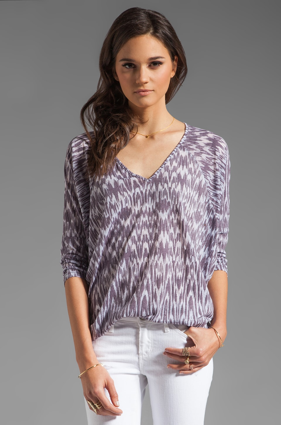 Velvet by Graham & Spencer Ikat Burnout Georgina Long Sleeve Top in Soil