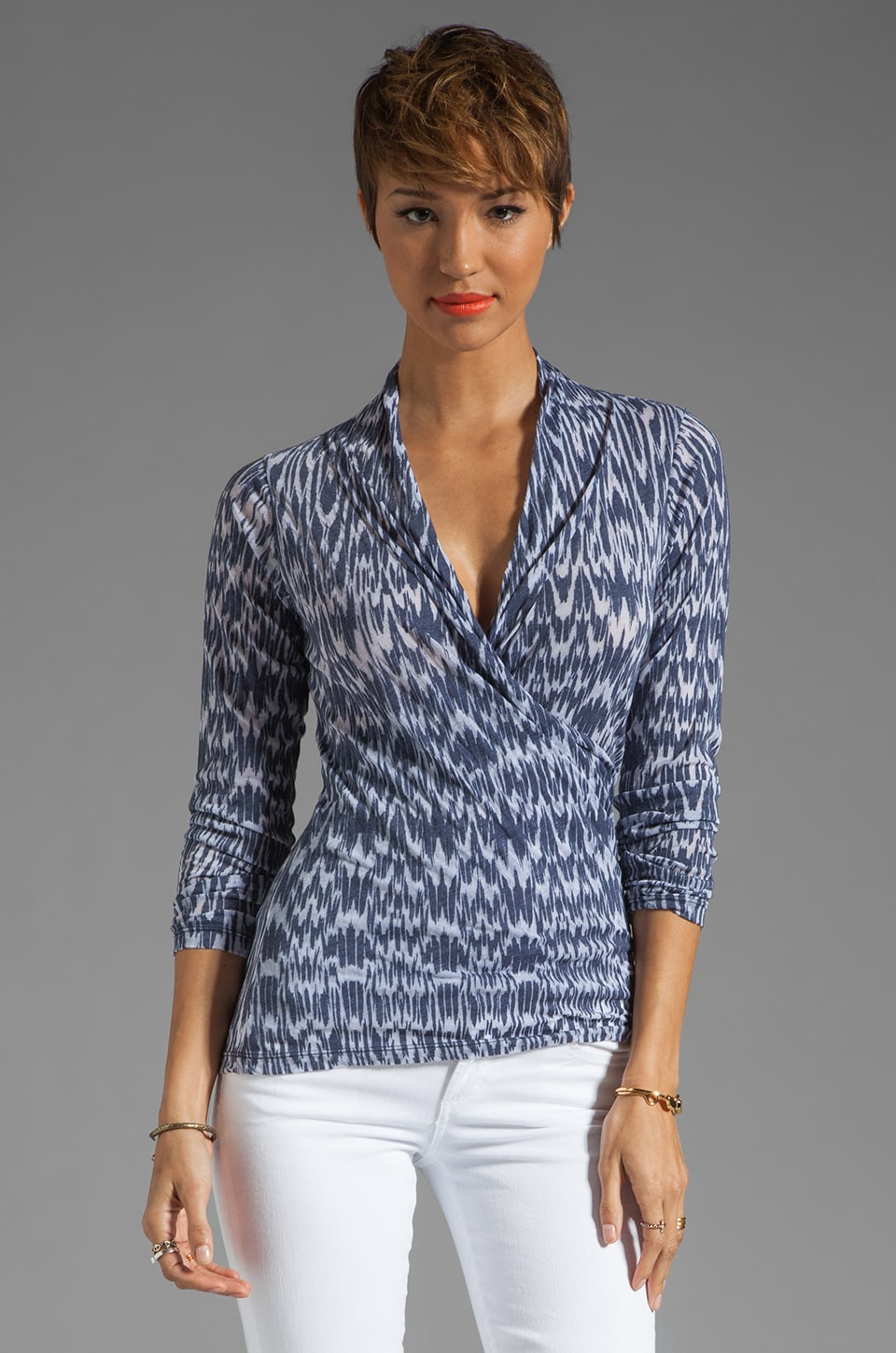 Velvet by Graham & Spencer Ikat Burnout Cadmus Faux Wrap Top in Coastline