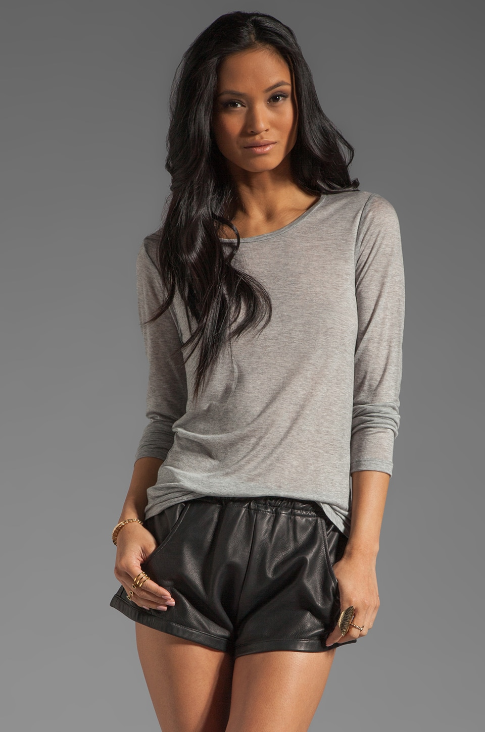 Velvet by Graham & Spencer Luxe Heather Chica Long Sleeve Tee in Heather Grey