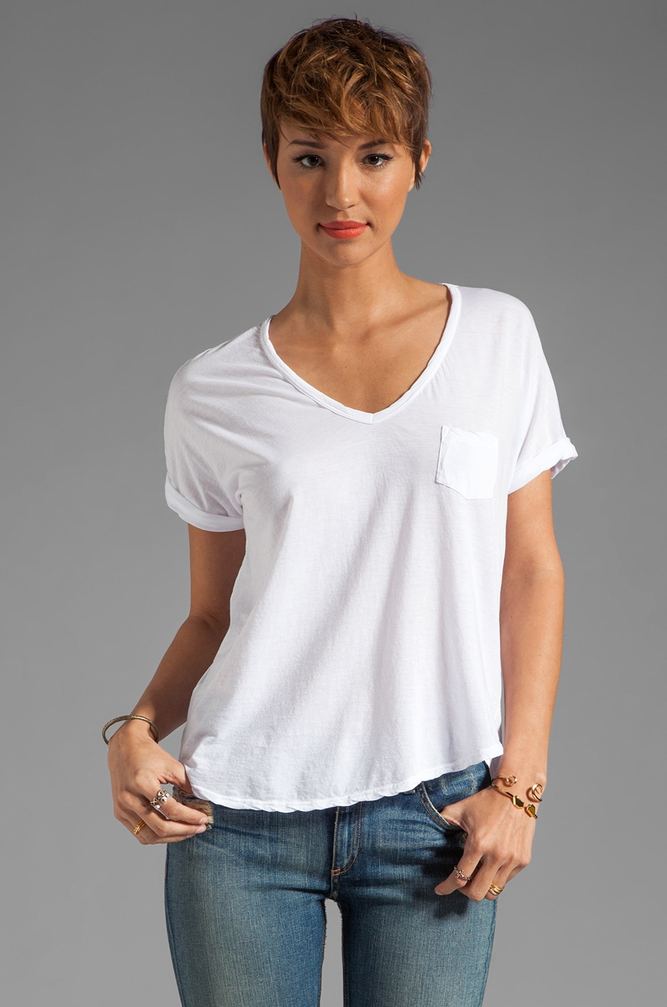 Velvet by Graham & Spencer Sheer Jersey Abba Pocket Tee in White