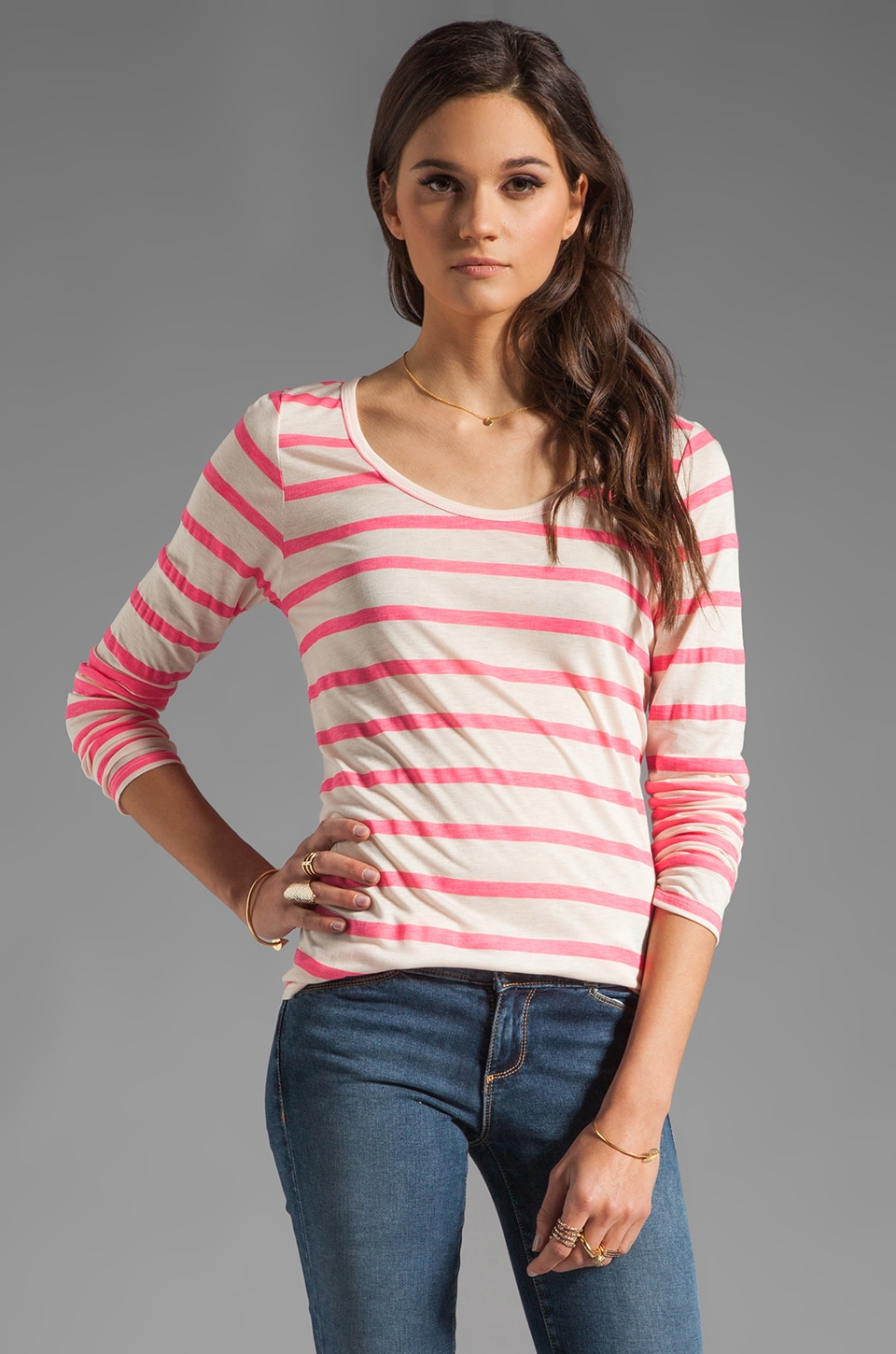 Velvet by Graham & Spencer Resort Stripe Minerva Long Sleeve Top in Neon Pink