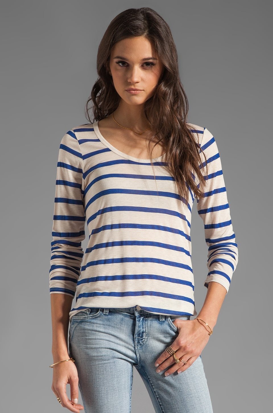 Velvet by Graham & Spencer Resort Stripe Minerva Long Sleeve Top in Navy