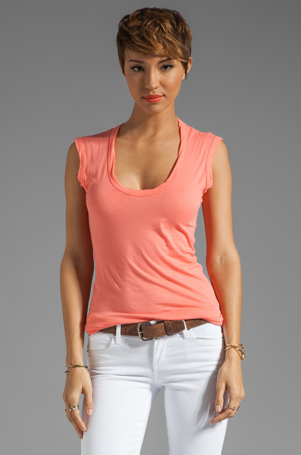 Velvet by Graham & Spencer Gauzy Whisper Classics Estina Tank in Kumquat