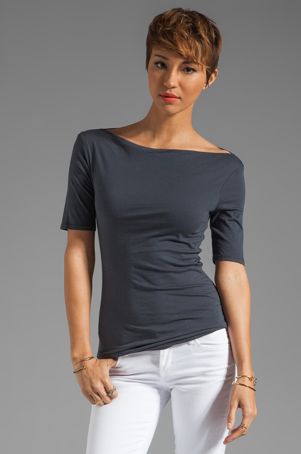 Velvet by Graham & Spencer Gauzy Whisper Classics Jenifer Top in Carbon
