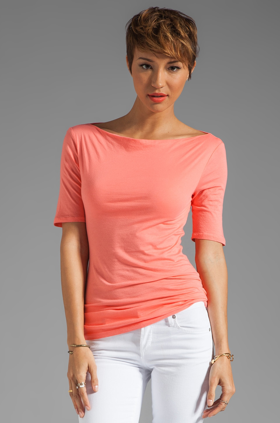 Velvet by Graham & Spencer Gauzy Whisper Classics Jenifer Top in Kumquat