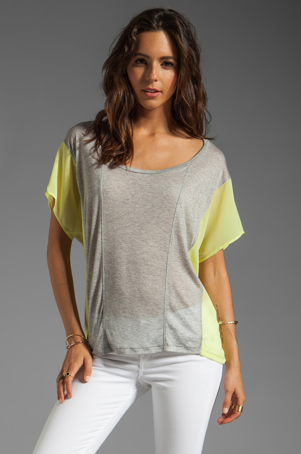 Velvet by Graham & Spencer Luxe Heather Nydia Short Sleeve Top in Heather Grey/Lime