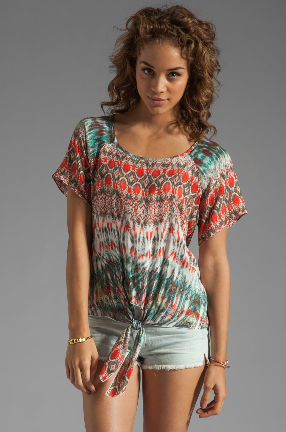 Velvet by Graham & Spencer Gwenda Aztec Top in Seafoam