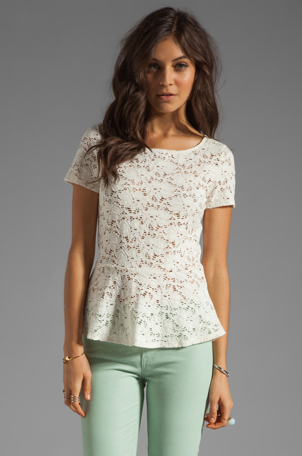 Velvet by Graham & Spencer Ruthie Stretch Lace Peplum Top in Oyster