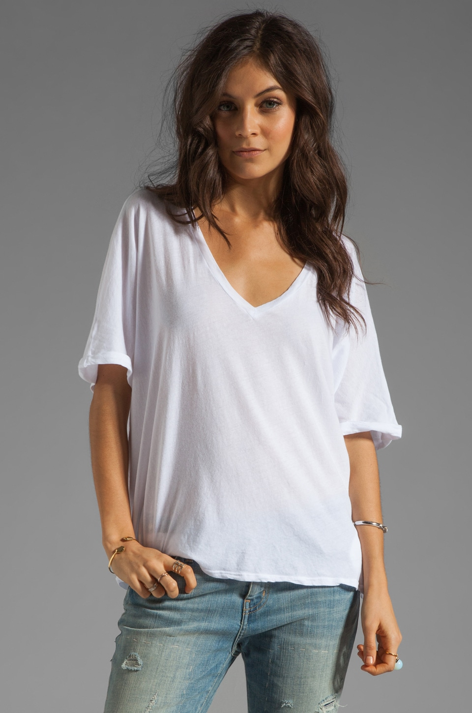 Velvet by Graham & Spencer Lucia Sheer Jersey V Neck Top in White