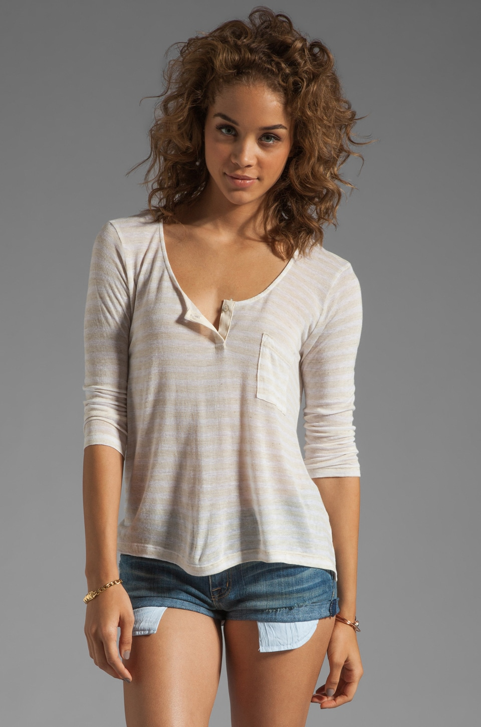 Velvet by Graham & Spencer Athena Oatmeal Stripe Henley Top in White