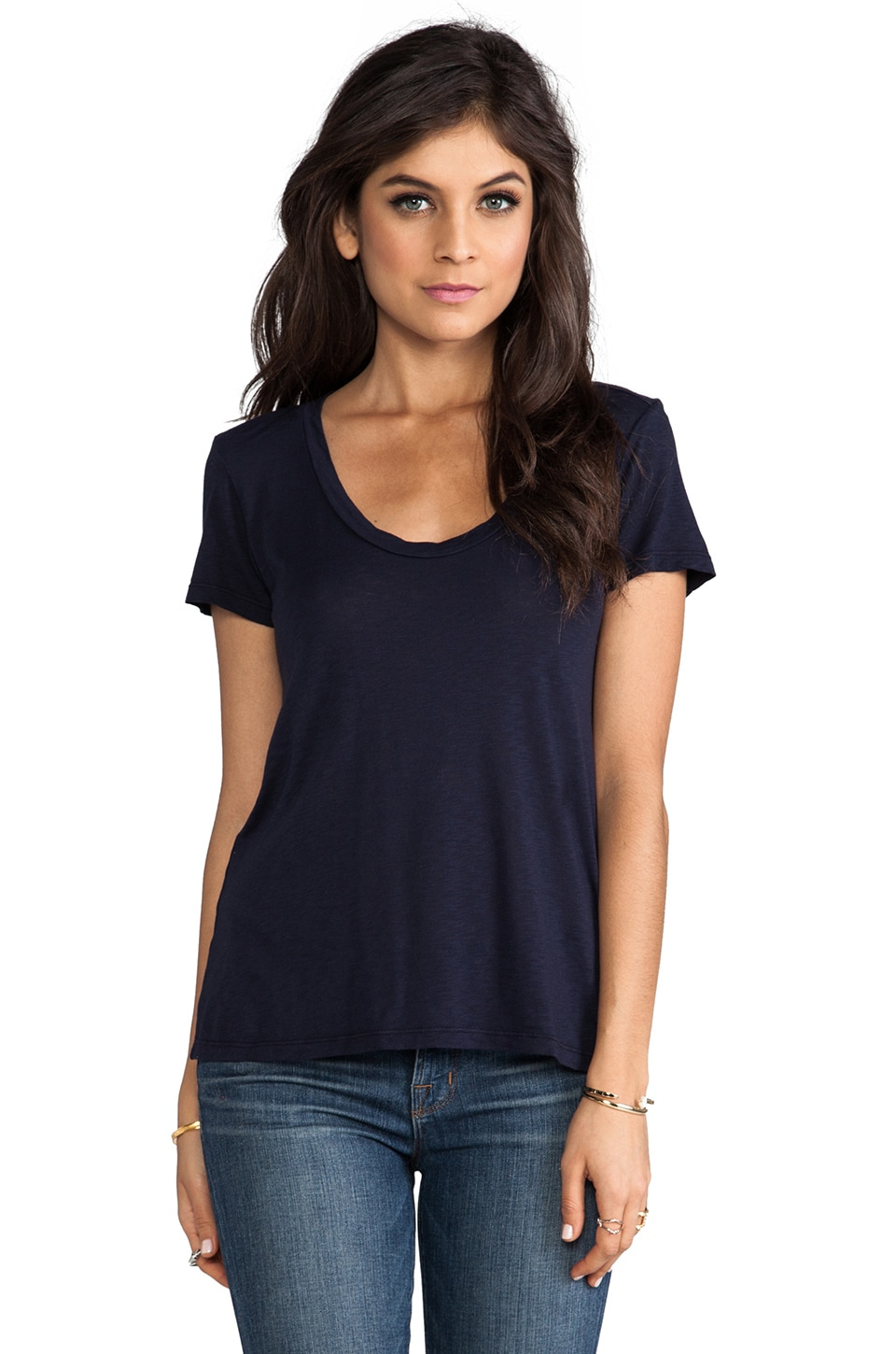 Velvet by Graham & Spencer Koren Luxe Slub Tee in Ink