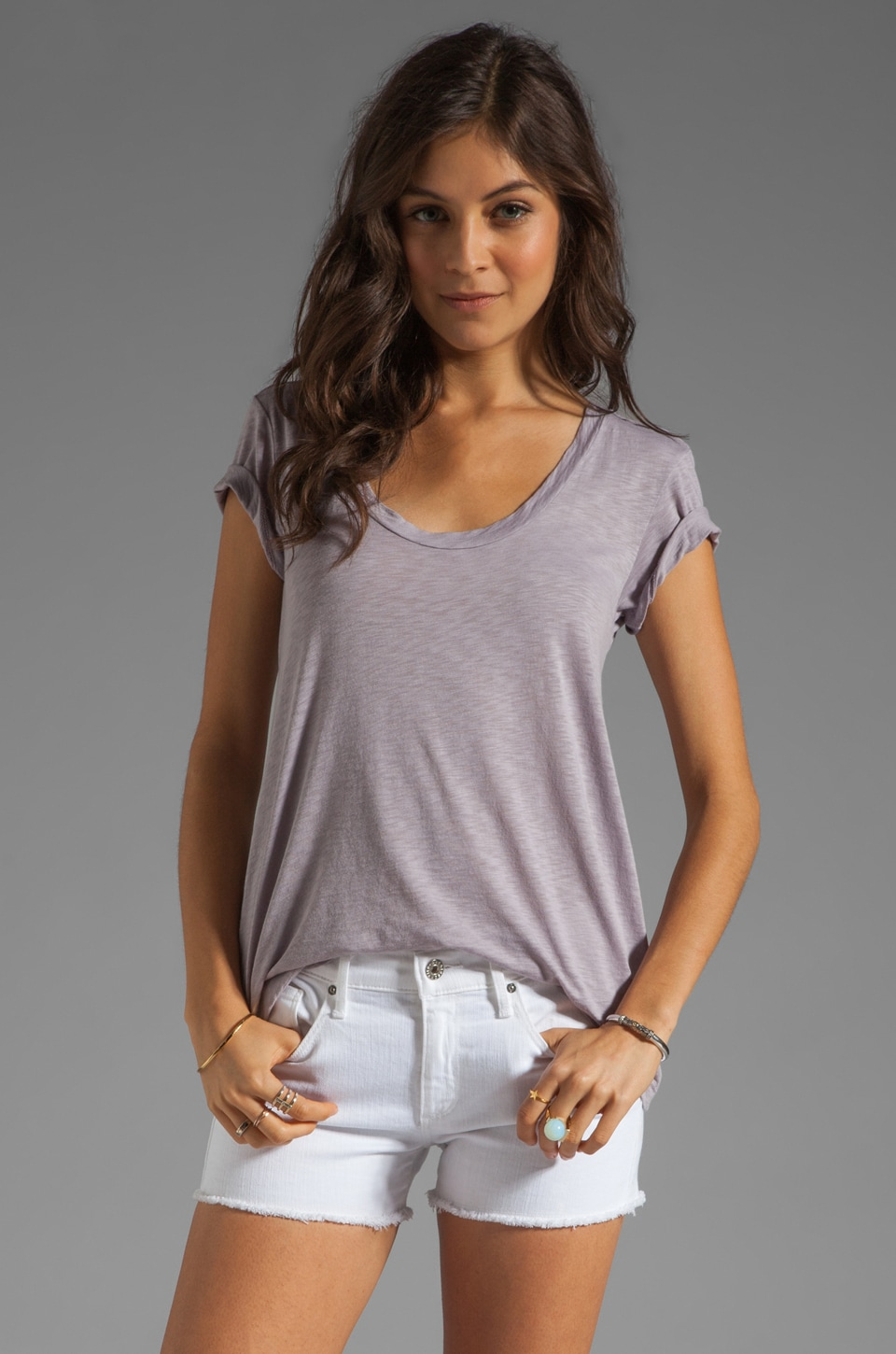 Velvet by Graham & Spencer Koren Luxe Slub Tee in Whale
