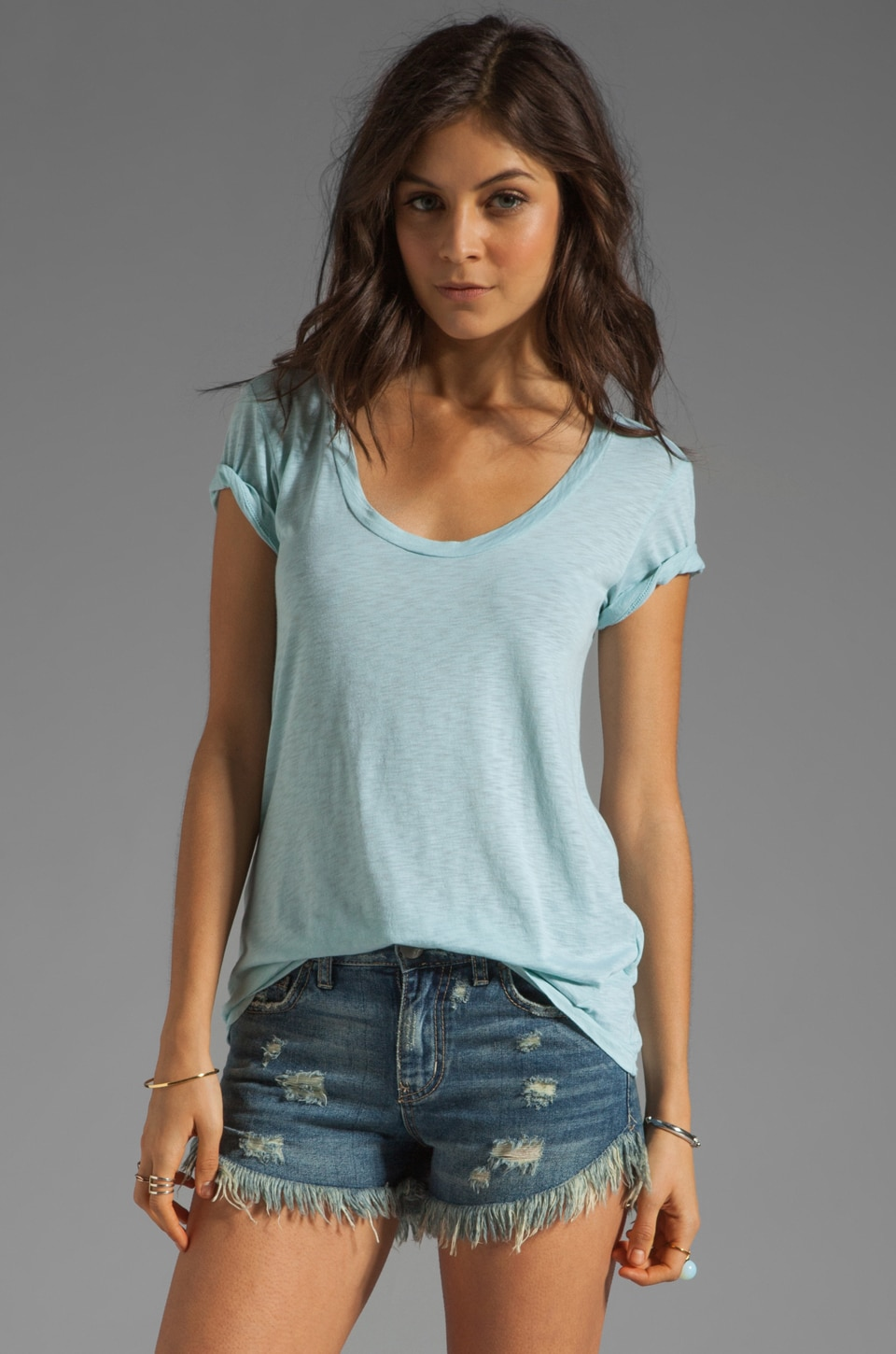 Velvet by Graham & Spencer Koren Luxe Slub Tee in Spearmint