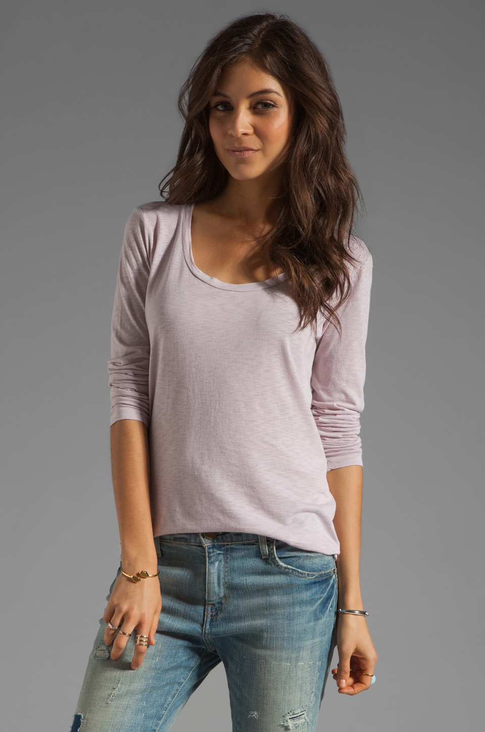 Velvet by Graham & Spencer Penelope Luxe Slub Top in Gravel