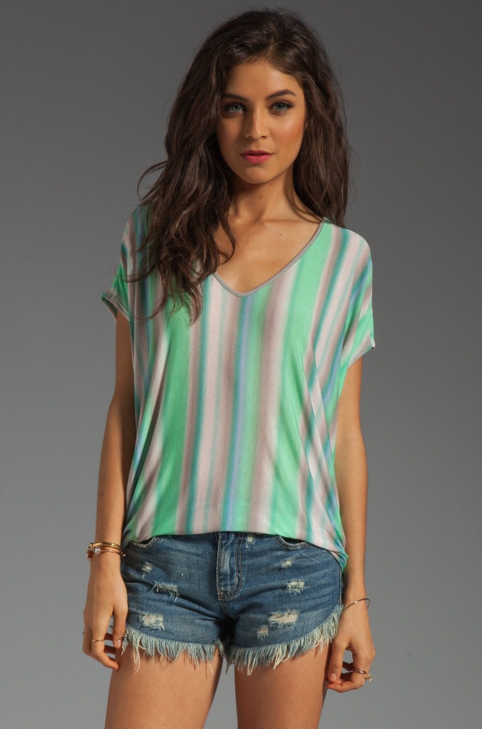 Velvet by Graham & Spencer Nelda Sunset Stripe Top in Aquarium