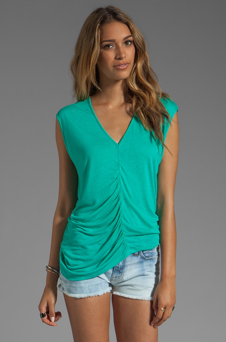 Velvet by Graham & Spencer Vanya New Fine Slinky Top in Minty