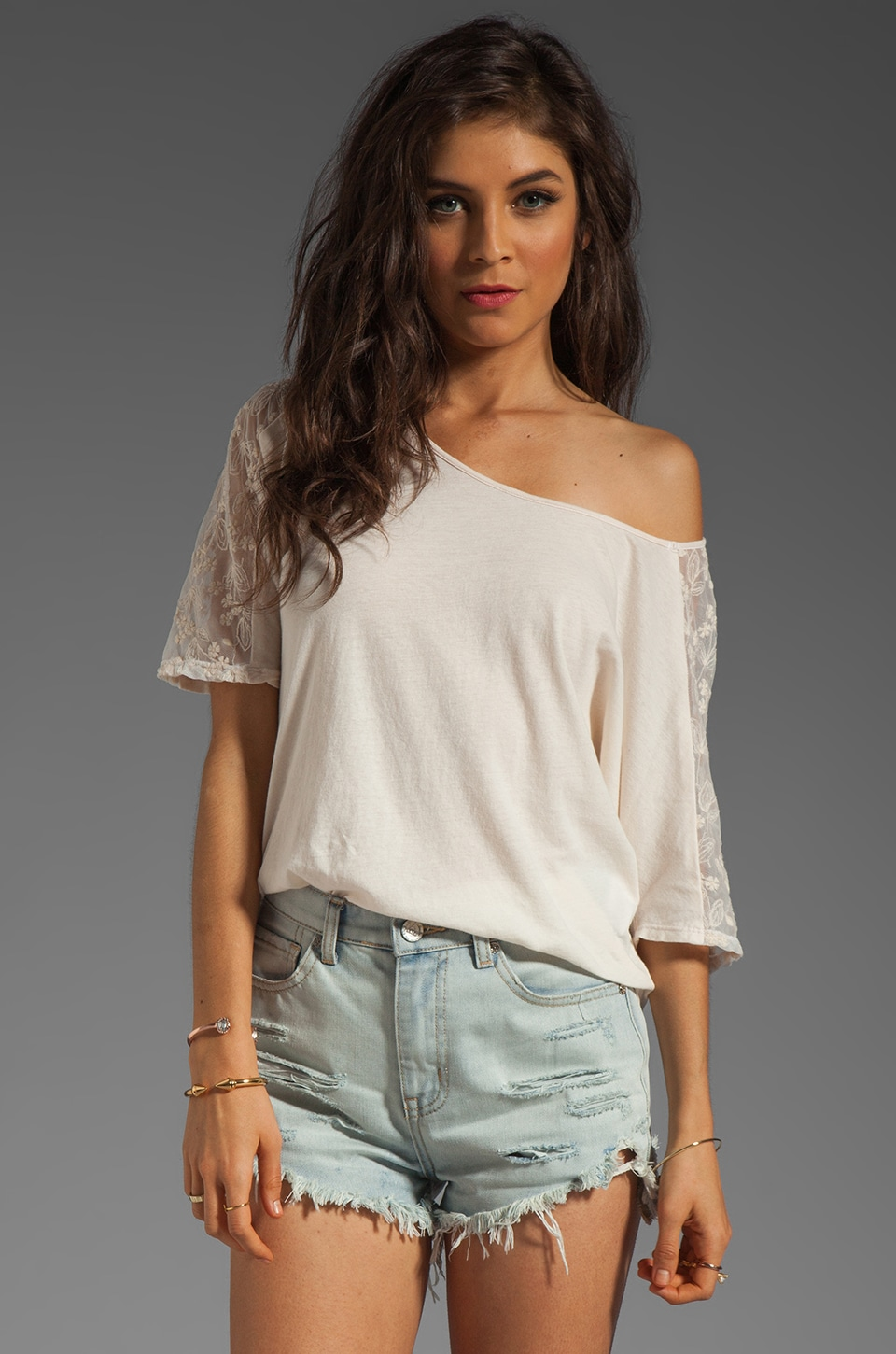 Velvet by Graham & Spencer Keesha Embroidered Mesh Shoulder Top in Vanilla