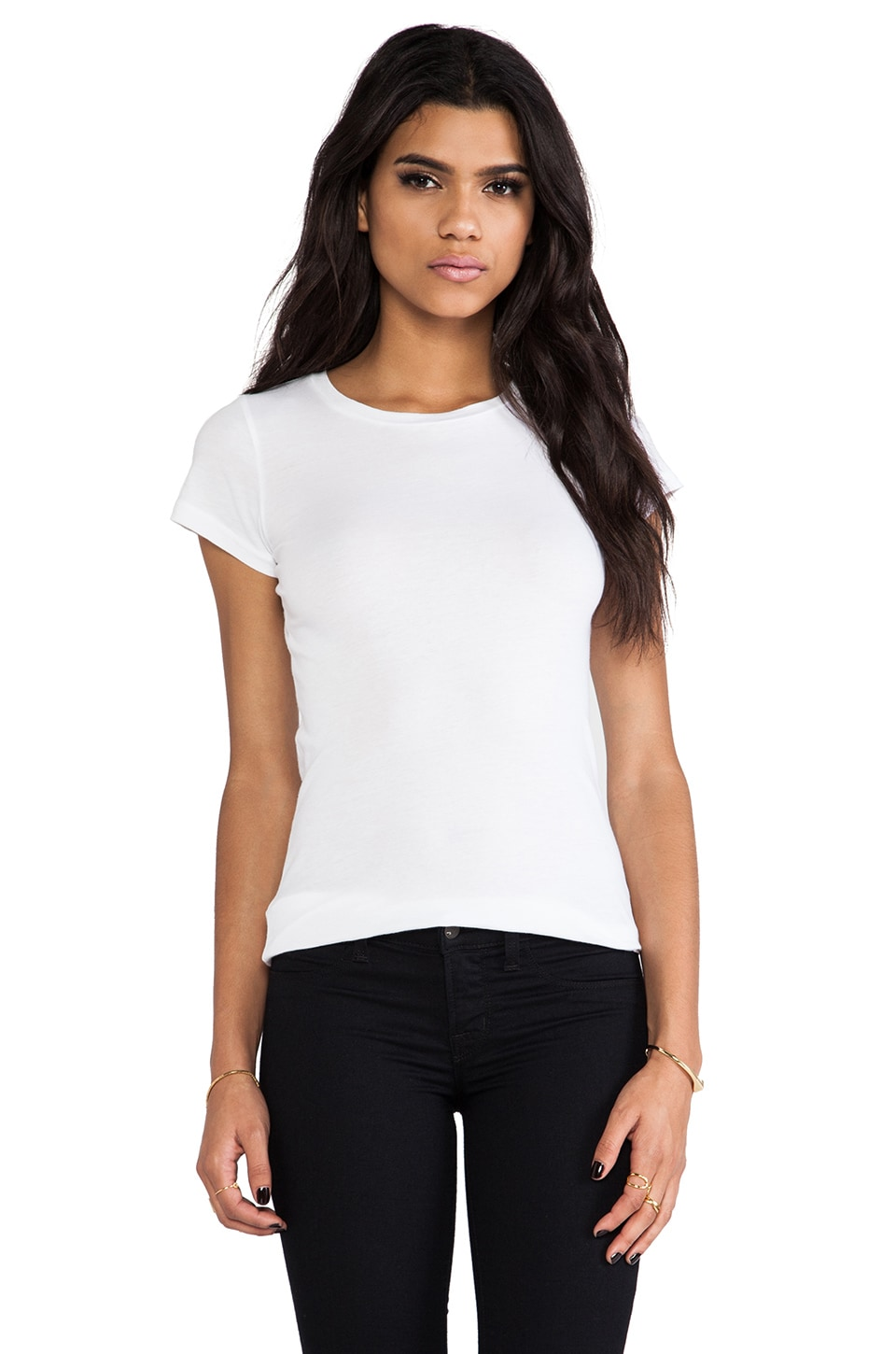 Velvet by Graham & Spencer Jemma Gauzy Whisper Crew Top in White