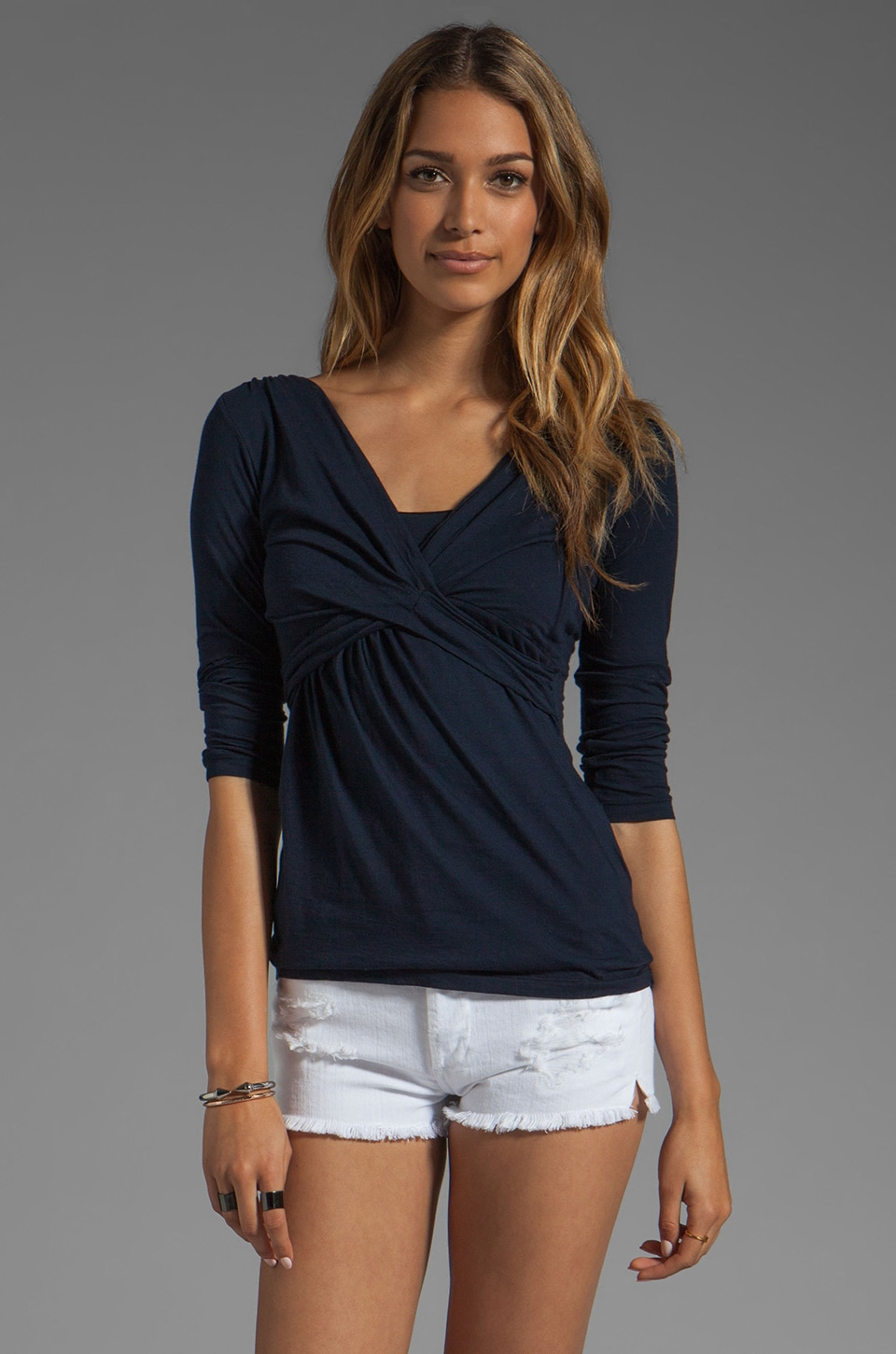 Velvet by Graham & Spencer Nancy Gauzy Whisper Wrap Top in Midnight