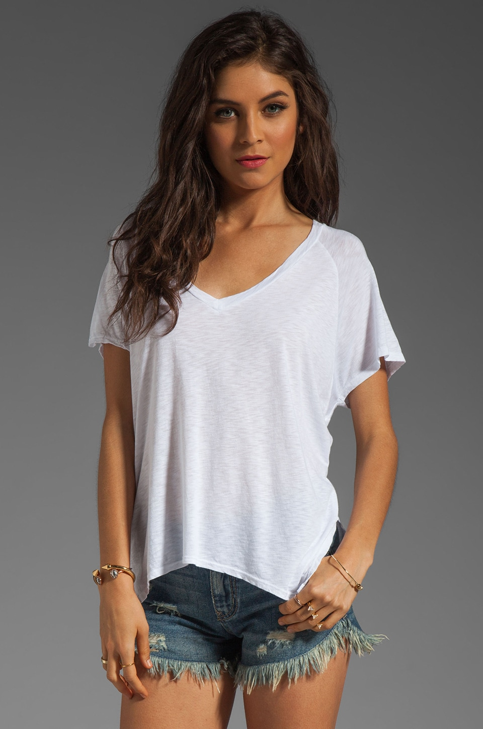 Velvet by Graham & Spencer Darcy Luxe Slub Top in White