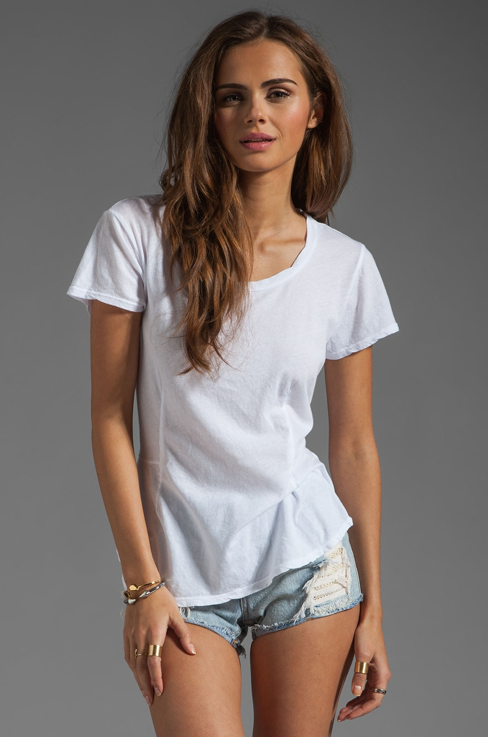 Velvet by Graham & Spencer Roe Sheer Jersey Peplum Tee in White