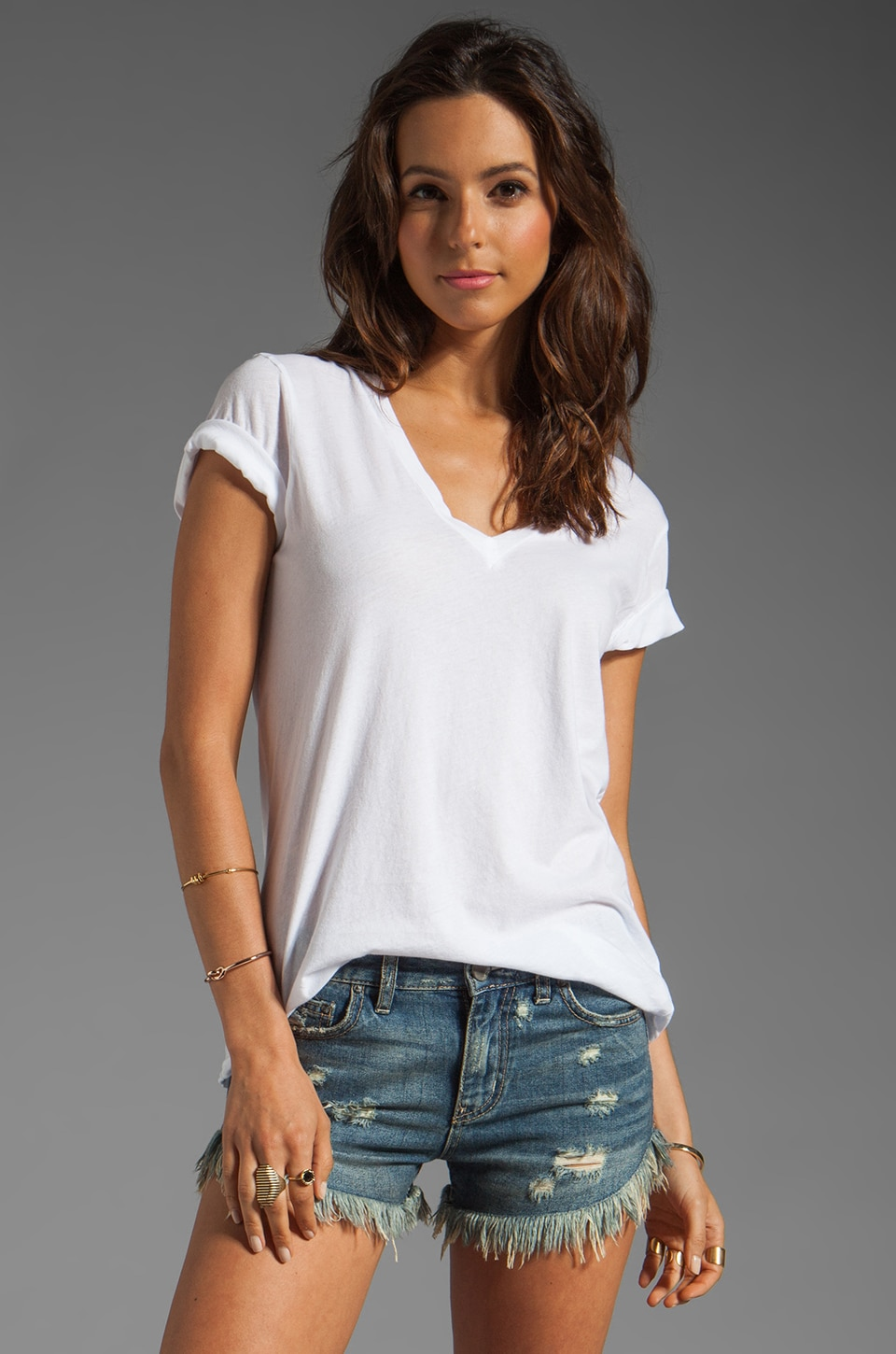 Velvet by Graham & Spencer Kim Sheer Jersey V Neck Tee in White