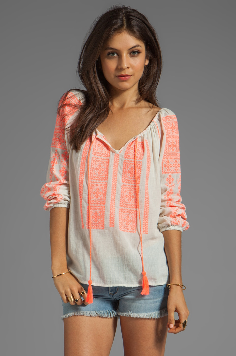 Velvet by Graham & Spencer Adele Embroidered Crinkle Gauze Blouse in Milk/Coral