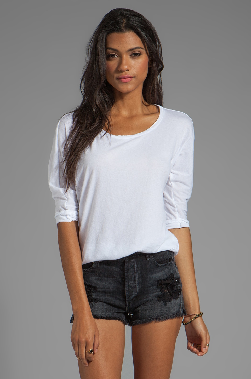 Velvet by Graham & Spencer Meryl Sheer Jersey Top in White