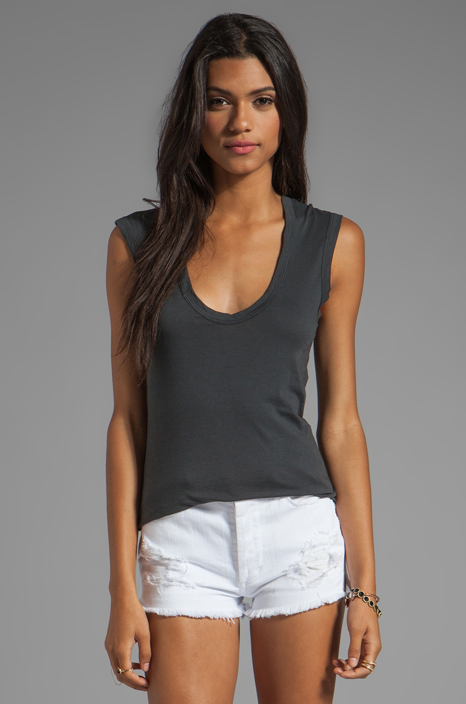 Velvet by Graham & Spencer Estina Gauzy Whisper Tank in Graphite