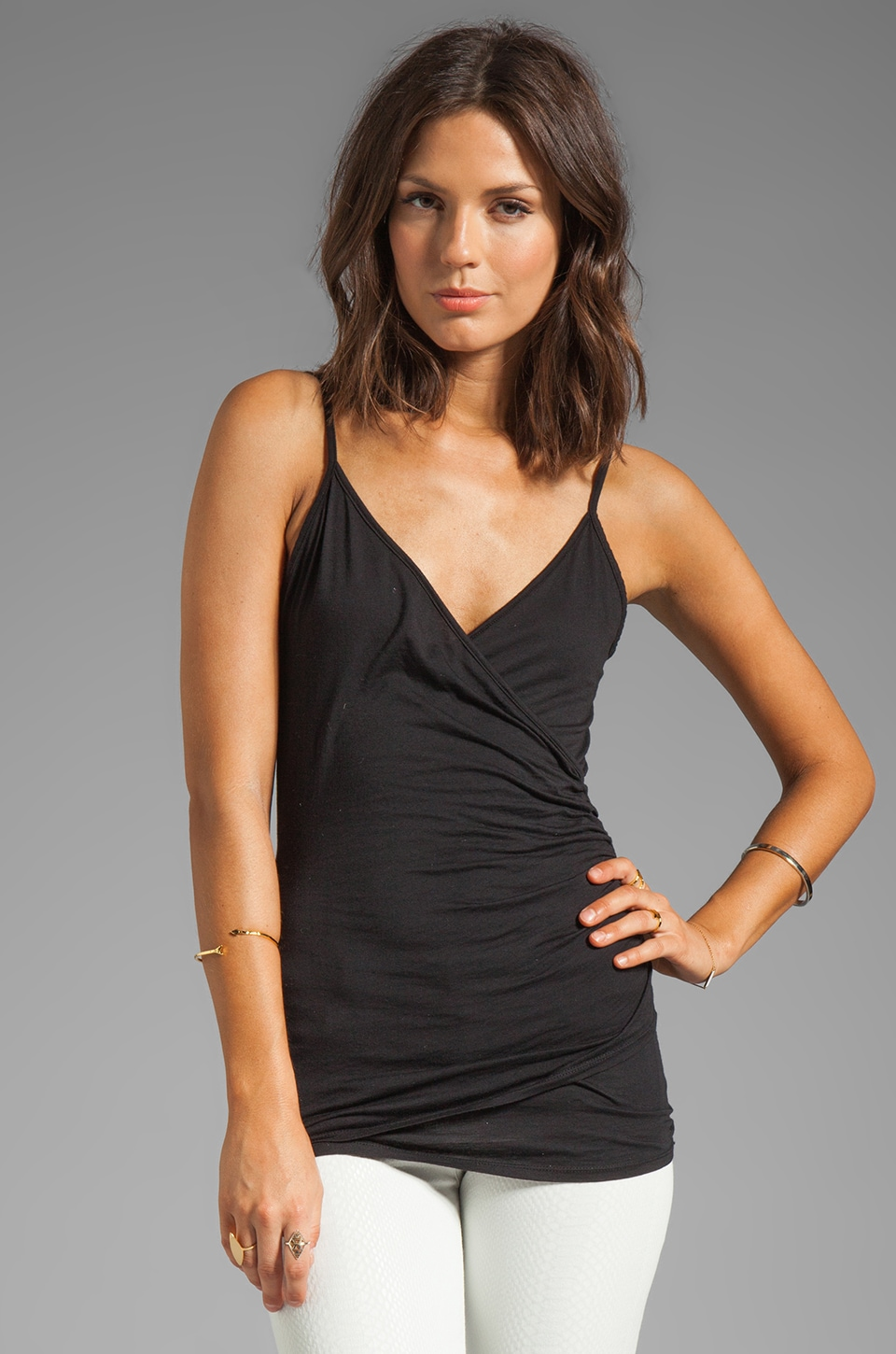 Velvet by Graham & Spencer Kamela Gauzy Whisper Wrap Tank in Black