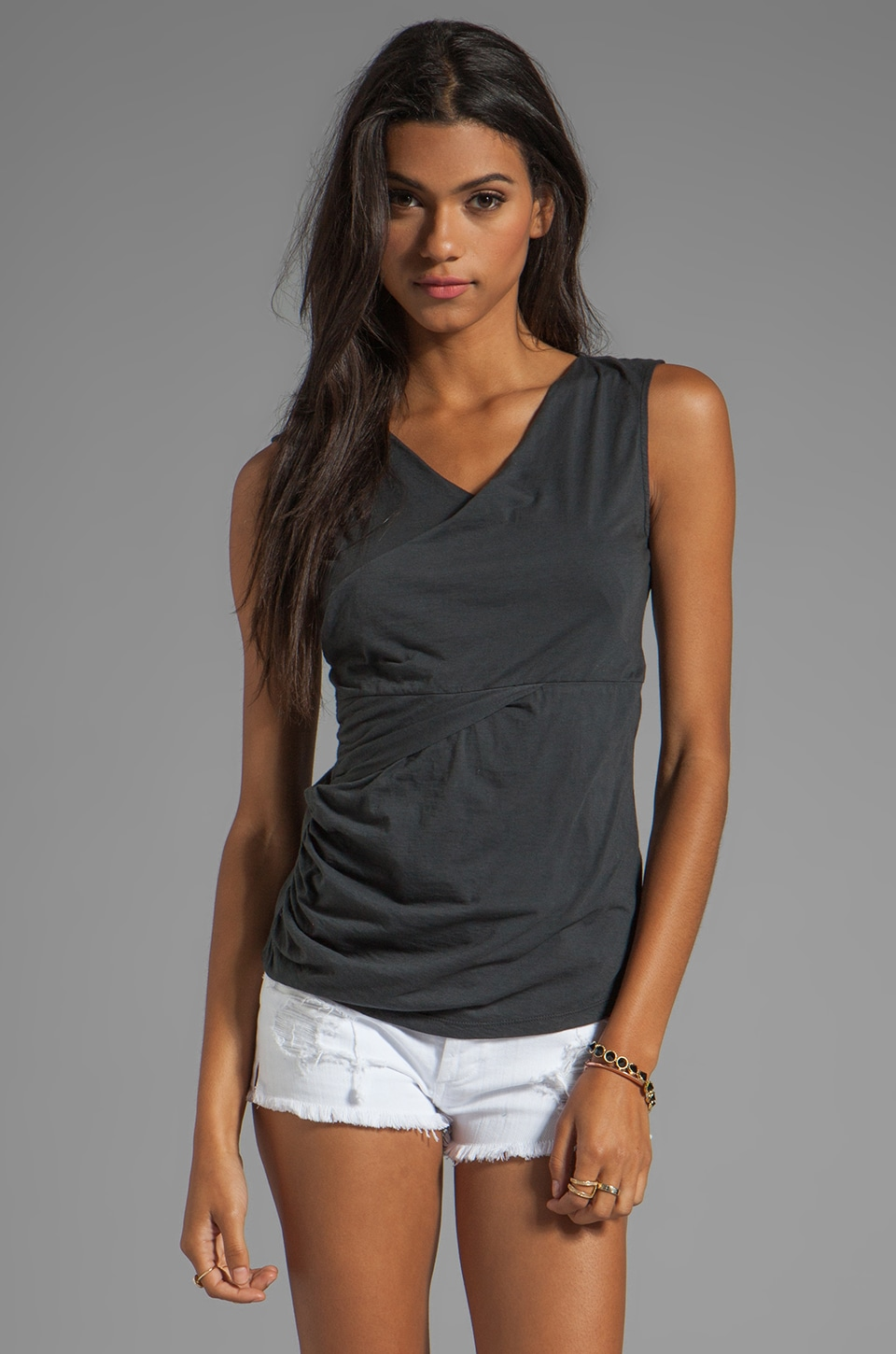 Velvet by Graham & Spencer Rachelle Gauzy Whisper Tank in Graphite