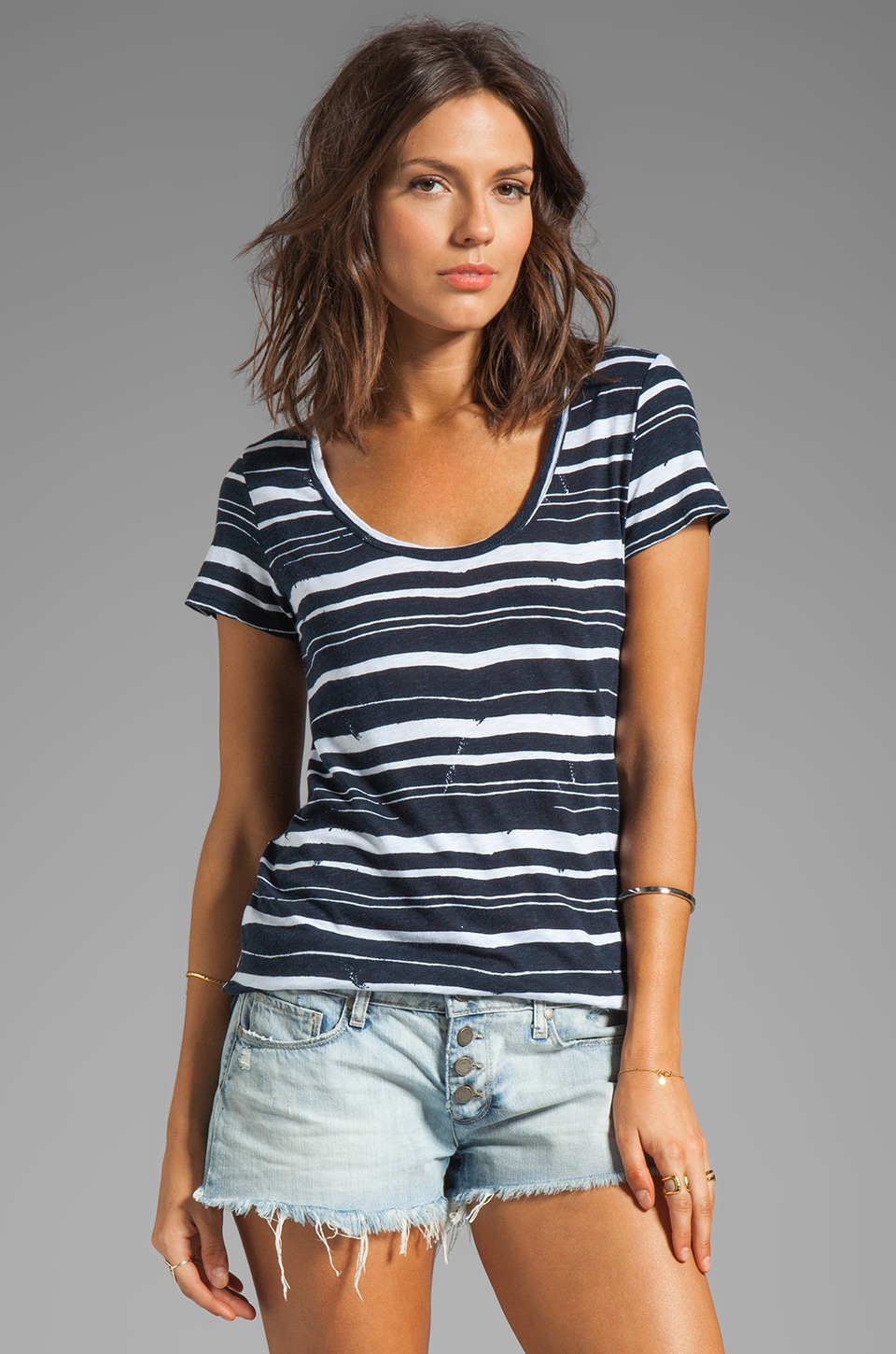 Velvet by Graham & Spencer Elsy Painted Stripe Top in Denim
