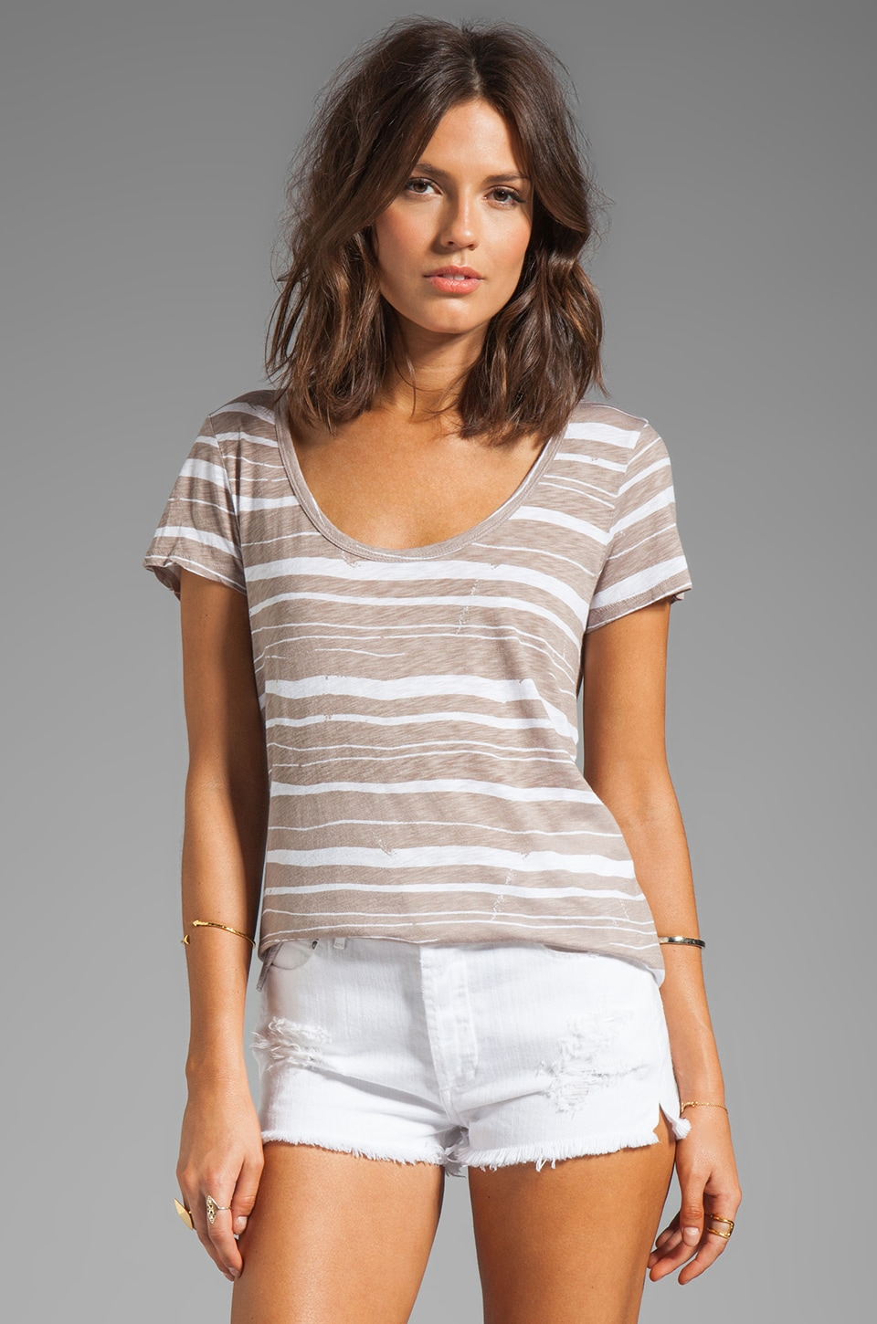 Velvet by Graham & Spencer Elsy Painted Stripe Top in Flax