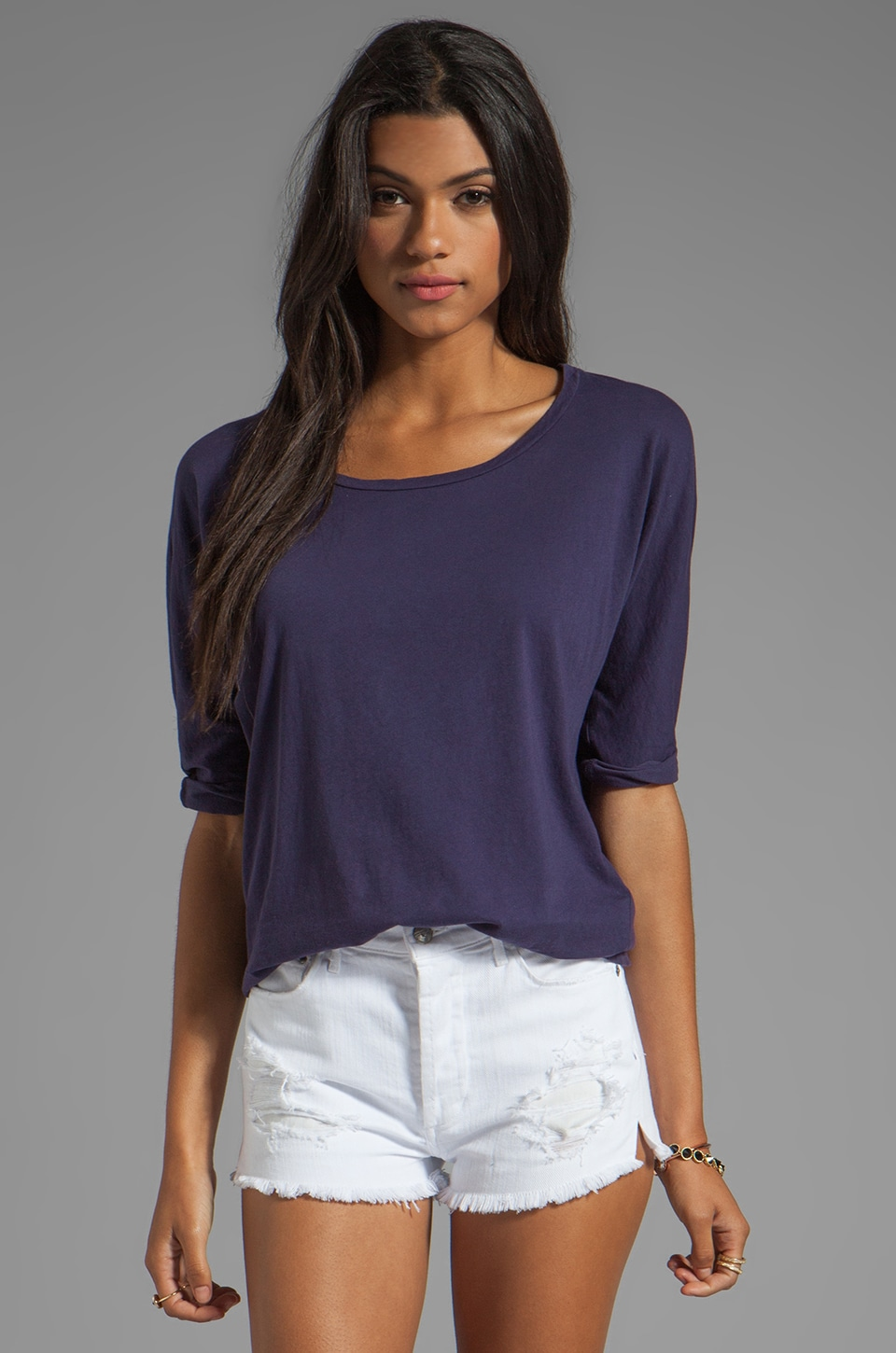 Velvet by Graham & Spencer Meryl Sheer Jersey Top in New Navy