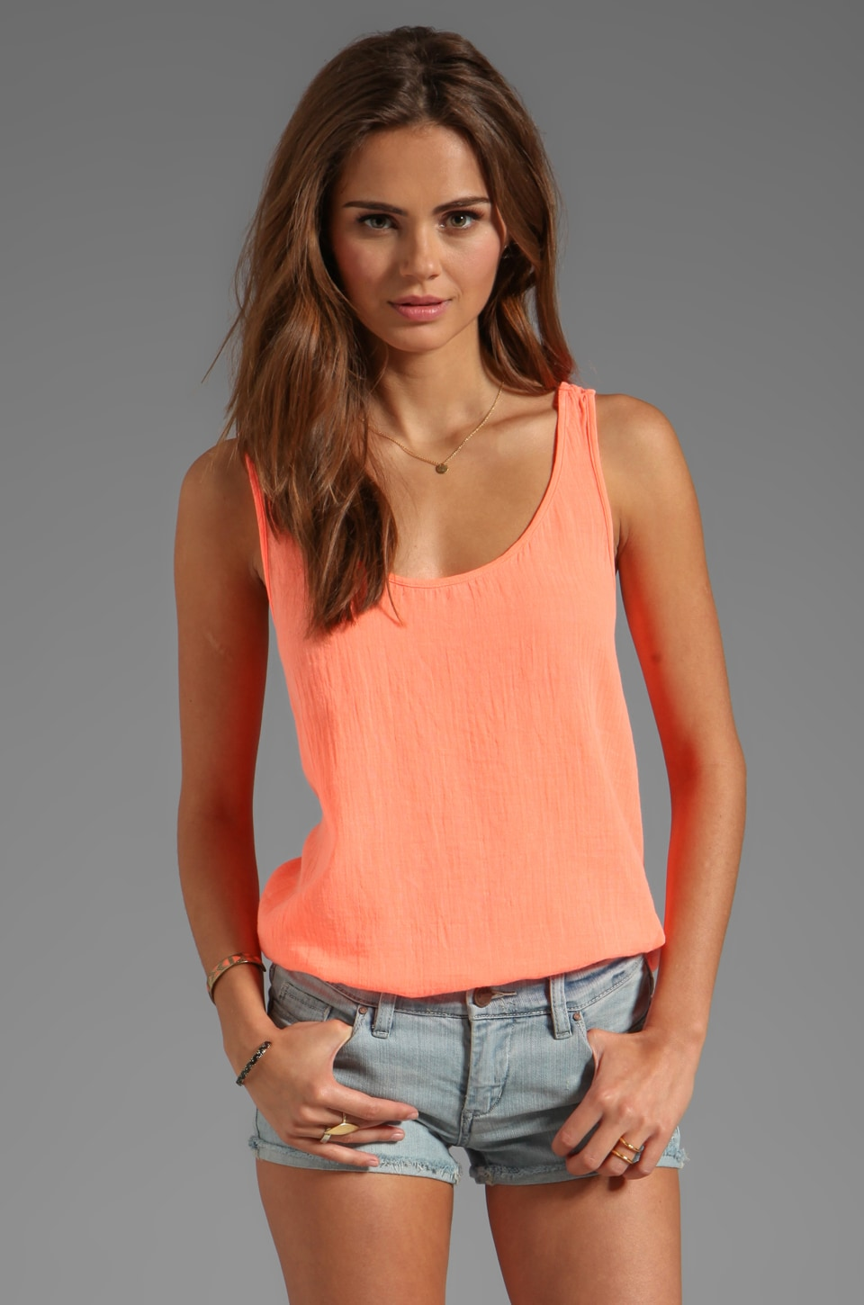 Velvet by Graham & Spencer Emily Sheer Jersey Tank in Glare