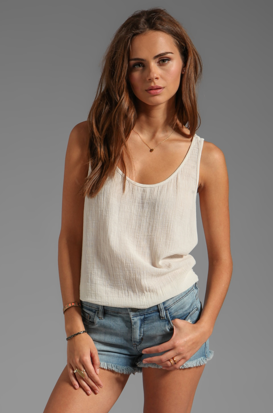 Velvet by Graham & Spencer Emily Sheer Jersey Tank in Sugar