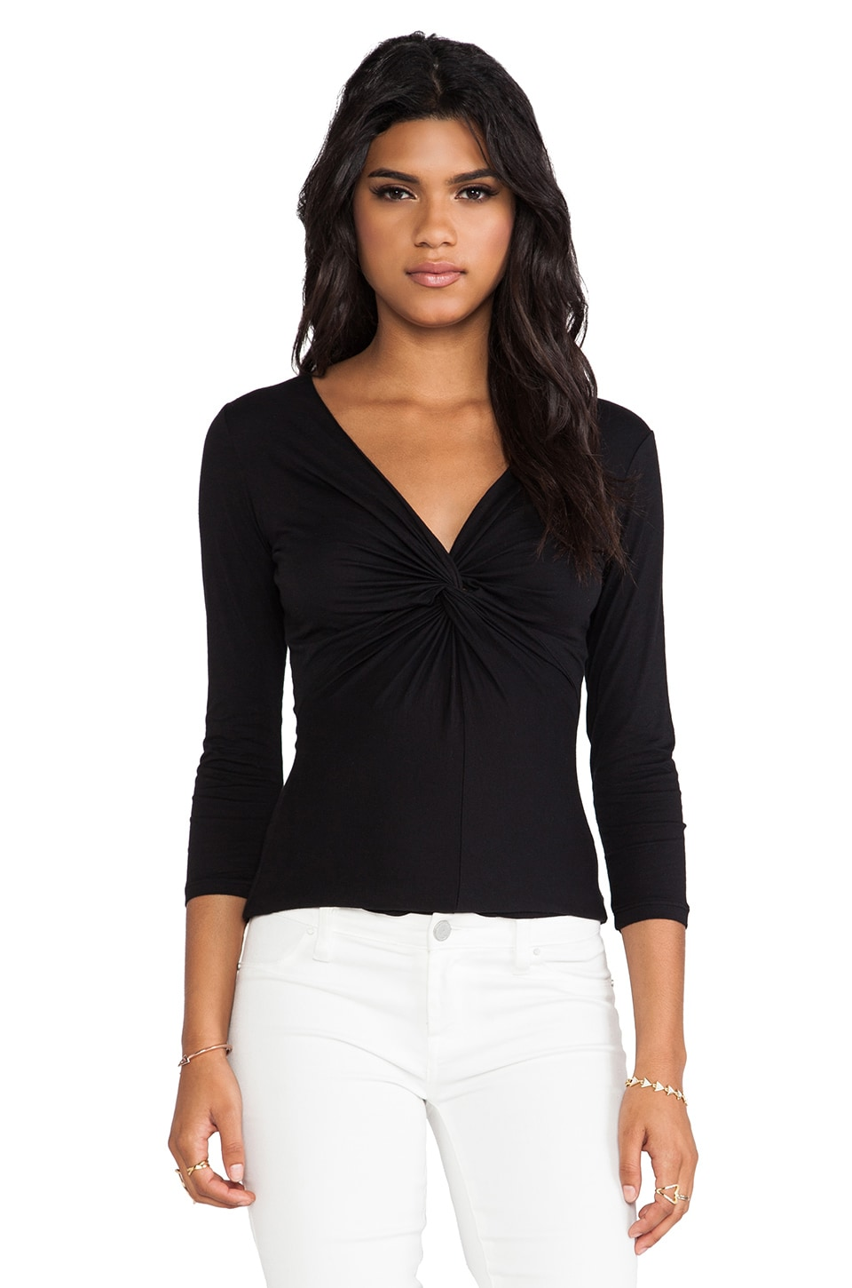 Velvet by Graham & Spencer Petri Gauzy Whisper Top in Black
