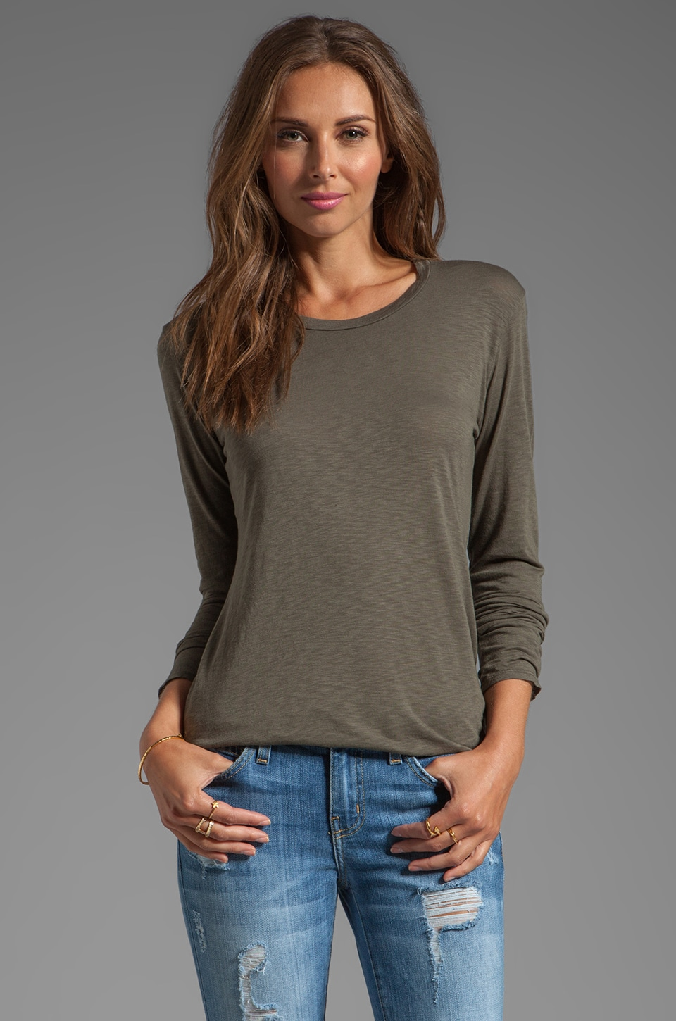 Velvet by Graham & Spencer Rhiannon Lux Slub Long Sleeve Tee in Safari