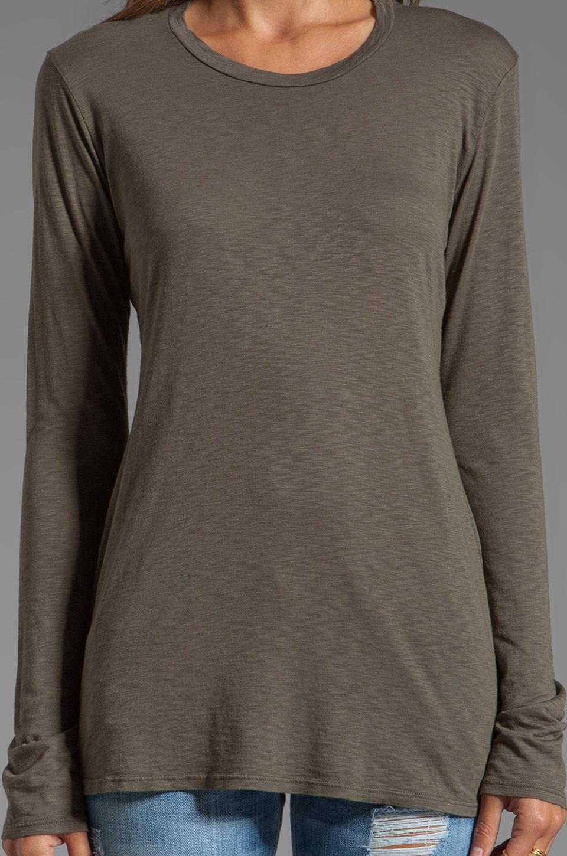 Velvet by Graham & Spencer Rhiannon Lux Slub Long Sleeve Tee in Safari